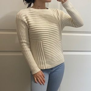 RAOUL Knit Off White Crew neck Chunky Sweater